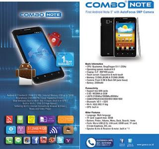 Gosco Combo Note, Smartphone Bongsor Berprosesor Dual Core