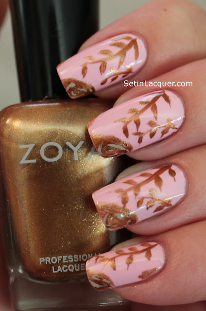 Robin Moses inspired gold rose nail art