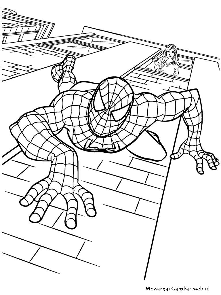 Gambar Mewarnai Spiderman Merayap Di dinding Gedung