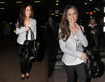 Cheryl Cole In Crisp Gray Blazer, White Tank, Skinny Black Pants,