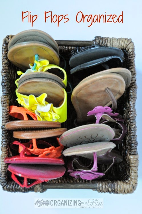25 of My Best Organizing Hack: Basket for organizing flip flops:: OrganizingMadeFun.com