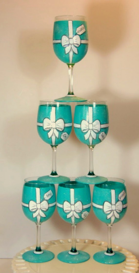 Tiffany Box Inspired Wine glasses
