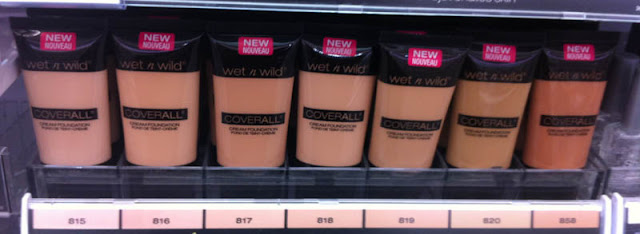 Wet n Wild Cover All Cream Foundation 815 Fair, 816 Fair/Light, 817 Light, 818 Light/Medium, 819 Medium, 820 Medium/Tan, 858 Tan