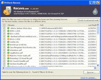 Mengembalikan data yang terhapus dengan Recuva