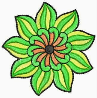 elegante groen kleur blomme appliekwerk ontwerp