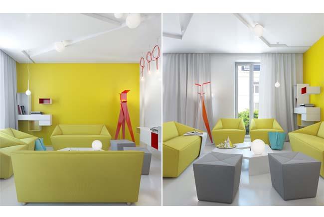 L 39 appartamento colorato di anna marinenko arredamento facile for Arredamento colorato