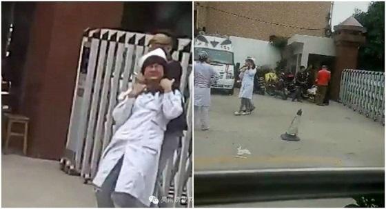 رجل  يقطع رقبة أحدى الممرضات في أحد المستشفيات  بالصين والسبب !!