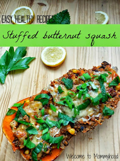 Easy healthy recipes: quinoa stuffed roasted butternut squash recipe by Welcome to Mommyhood