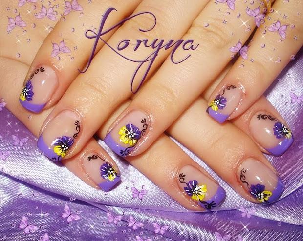 nails purple&yellow