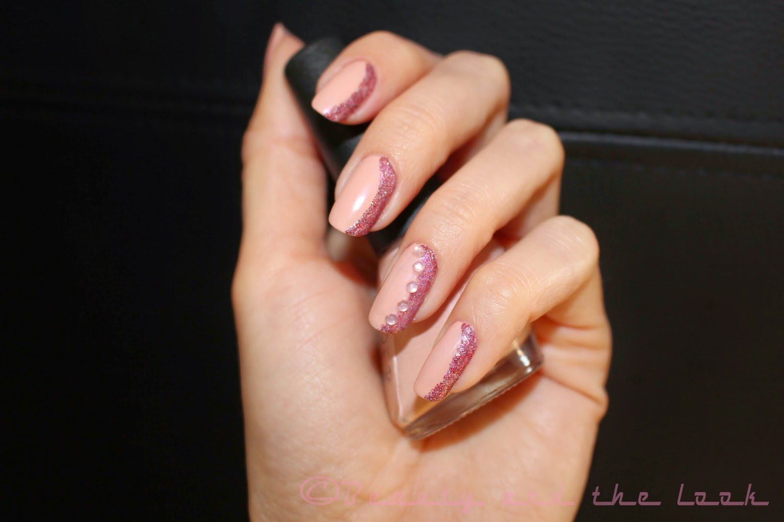 Simple Nail Designs For Prom: Simple silver glitter tip prom nails.