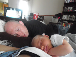 father and son, newborn baby boy, sleeping baby and daddy