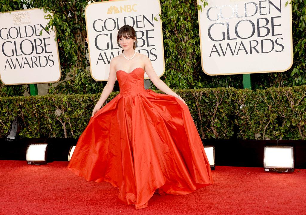Zooey Deschanel Golden Globes 2013 Celeb Diary: Zooey Des...