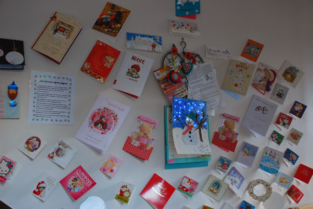 image of hand made snowman card with fairy lights