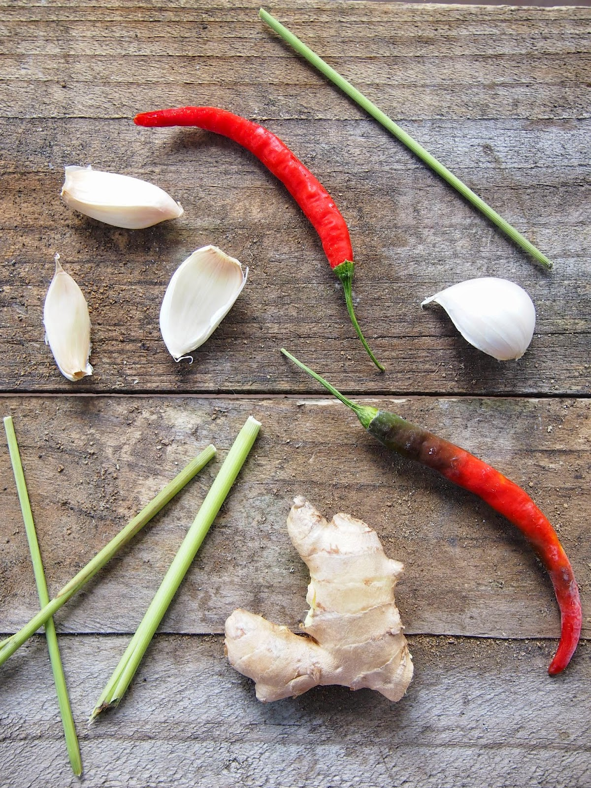 Garlic, lemongrass, Serrano chili and ginger for soup