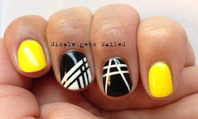 Yellow Black White Striping Tape Nail Art