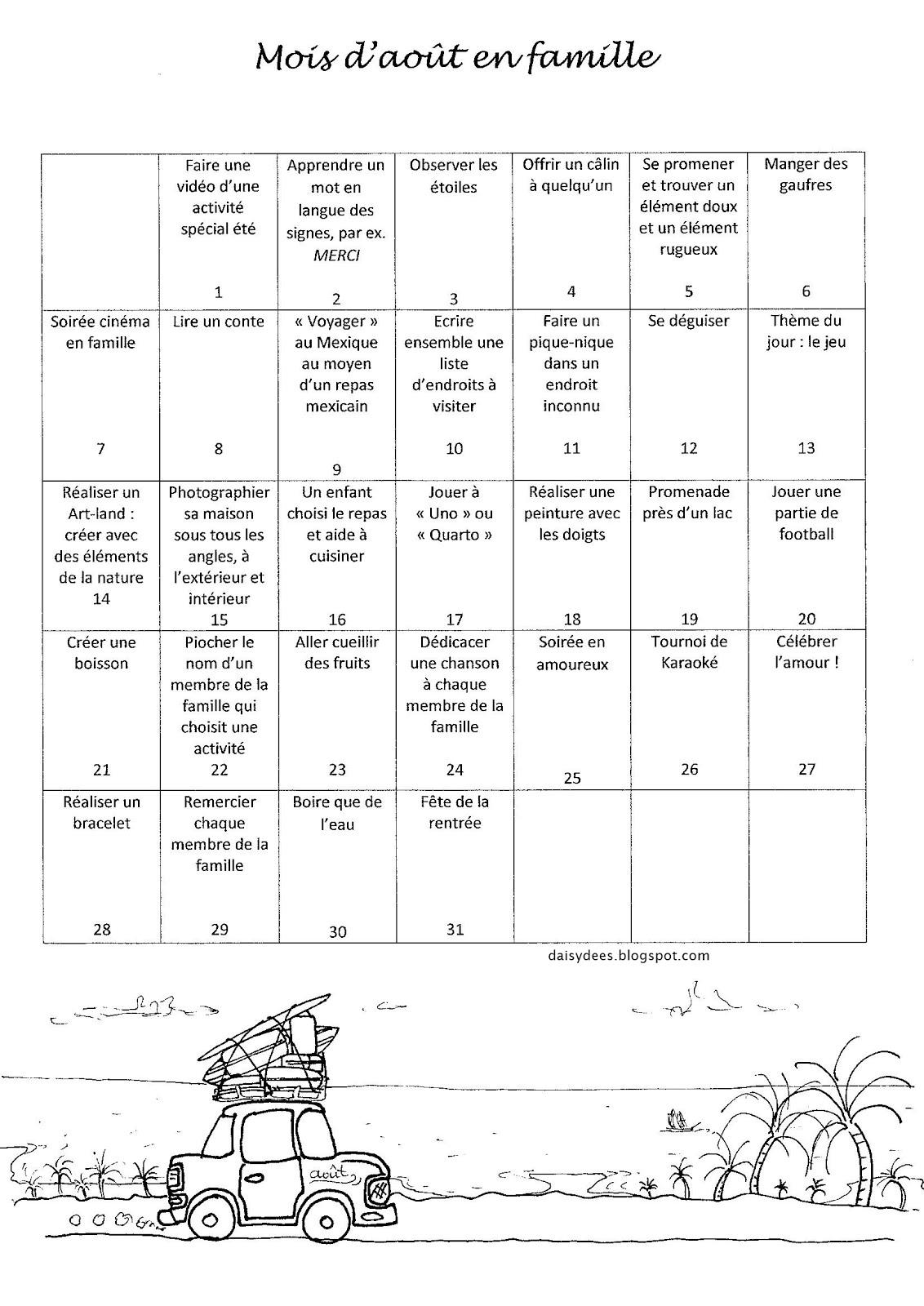 calendrier août