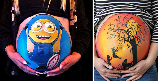 Baby bumps painting with funny characters