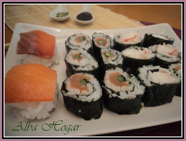 sushi  salmón cangrejo alba hogar