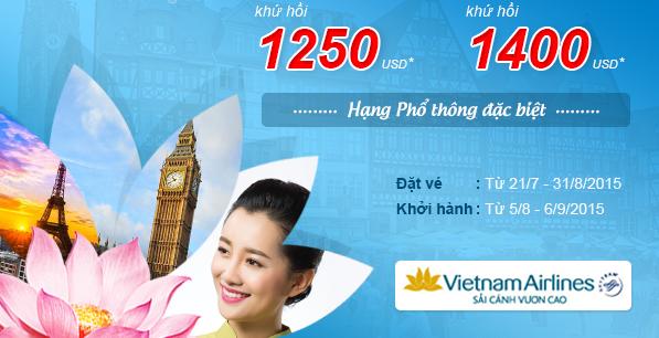 Vietnam Airlines giảm giá vé máy bay đi Châu Âu với giá chỉ từ 1250 USD