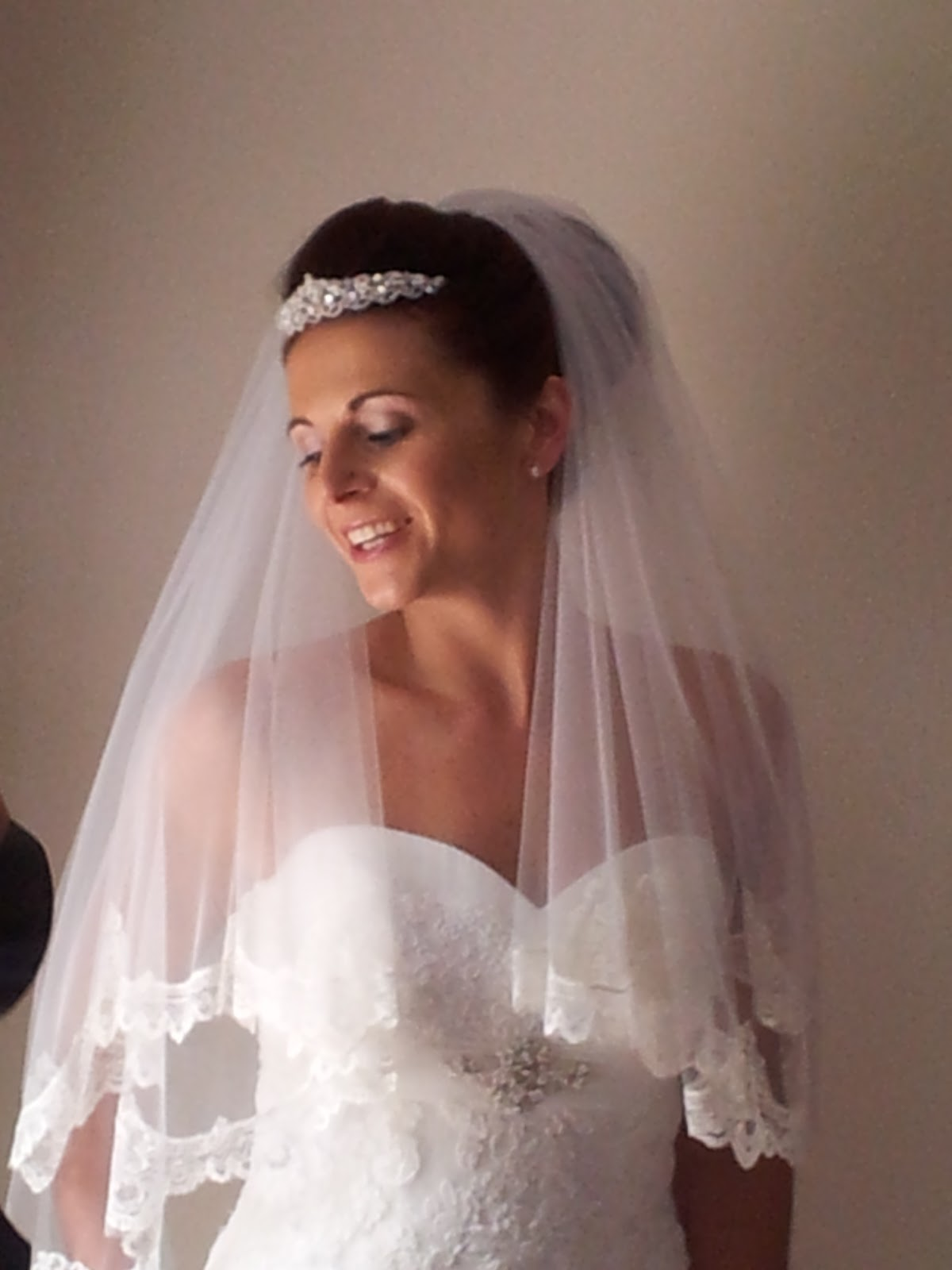 Bridal tiaras and veils - Low Wedding Bun With Wedding Veil And Tiara