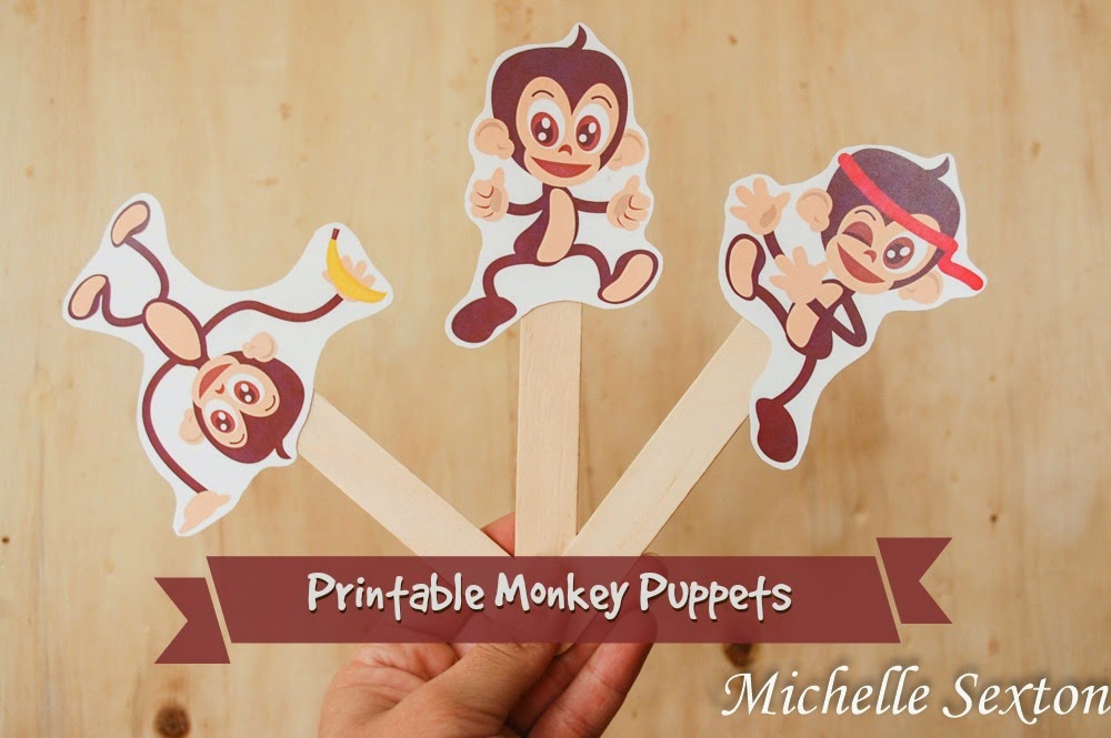 Free Printable Monkey Puppets - available at SoHeresMyLife.com - click through and get them