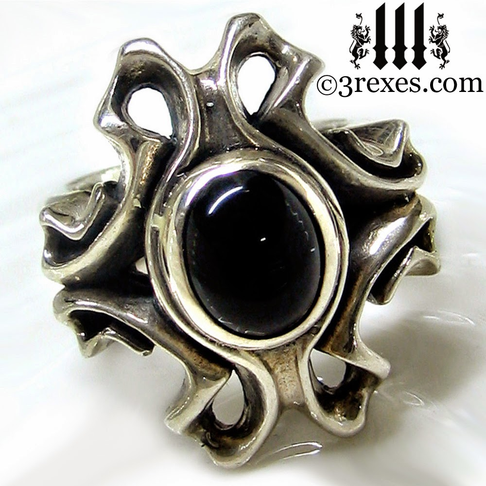 The Empress Vampire Silver wedding Ring gothic black onyx