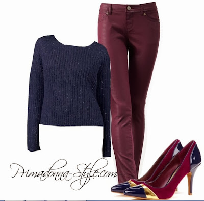 Jennifer Lopez Embellish Cropped Sweater Simply Vera Wang Coated Skinny Jeans Sole Society Allison Suede Pumps Earrings & Necklace: Burlington Coat Factory Lips: Revlon Va Va Violet
