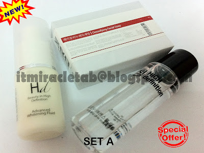 MIRACLE TAB: HD ADVANCED WHITENING FLUID + TAB SOAP + HD GLOW ESSENCE