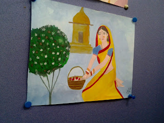 indian woman painting cubicle decoration colors acrylic beautiful