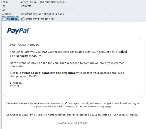 Atak phishingowy wymierzony w użytkowników PayPala