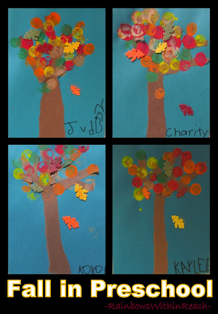 photo of: Fall Leaf Art Painting Project from Preschool (Fall RoundUP via RainbowsWithinReach)