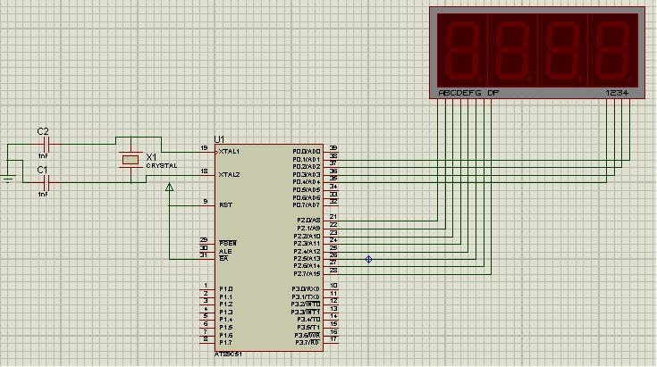 Implementation Of Four 7 Segment Led Display Multiplexing With 8051