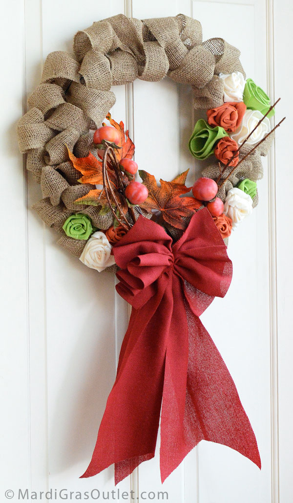 Burlap Ribbon Wreath- Perfect for Fall Decor! | MardiGrasOutlet.com