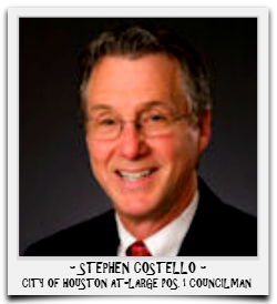 STEPHEN COSTELLO IS SERVING HIS FINAL TERM IN OFFICE
