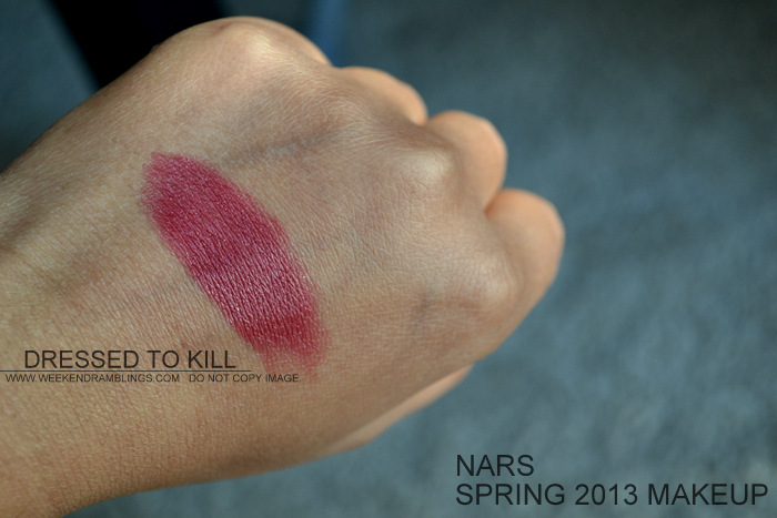 NARS Spring 2013 Makeup Collection Indian Beauty Blog Darker Skin Swatches Photos rose red shimmer satin lipstick dressed to kill
