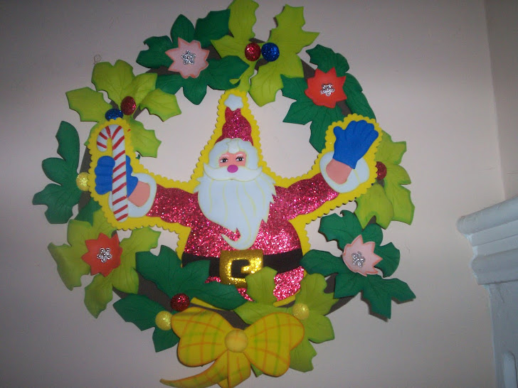 Corona navideña Papa Noel $15.000
