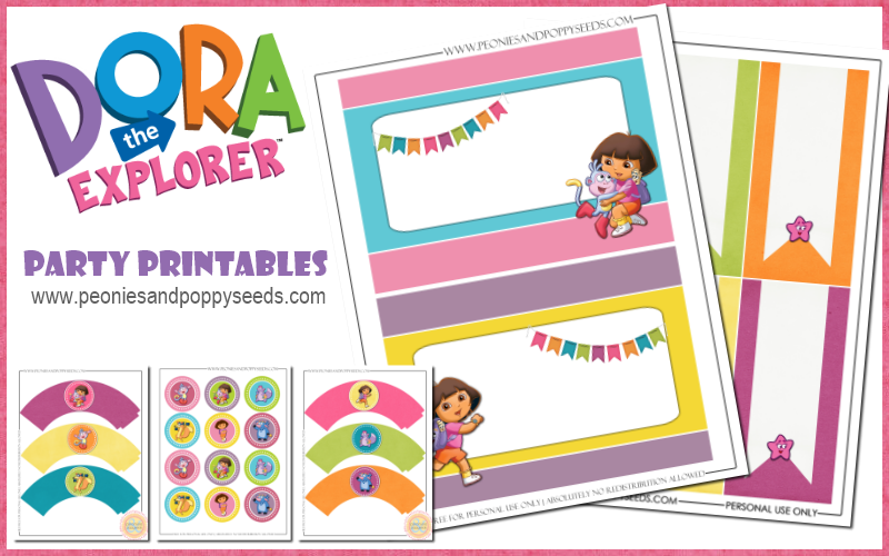 Peonies and Poppyseeds Dora the Explorer Party Printables