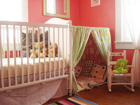 Cool kids rooms with play tents image 03 beautiful tent near the kid bed with red walls