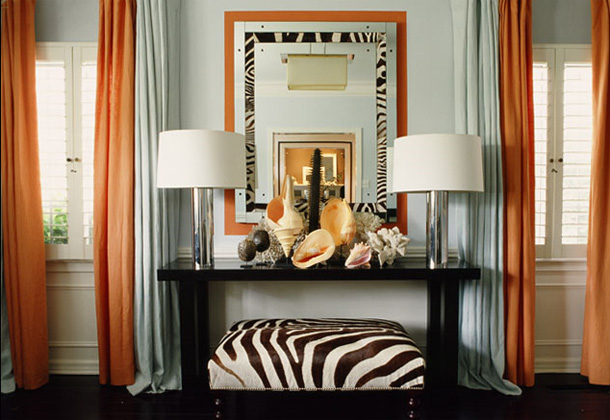 Zebra Print Orange and Brown Living Room