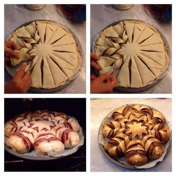 Chocolate star cookies2  طريقة تشكيل فطيرة النوتيلا المضفرة