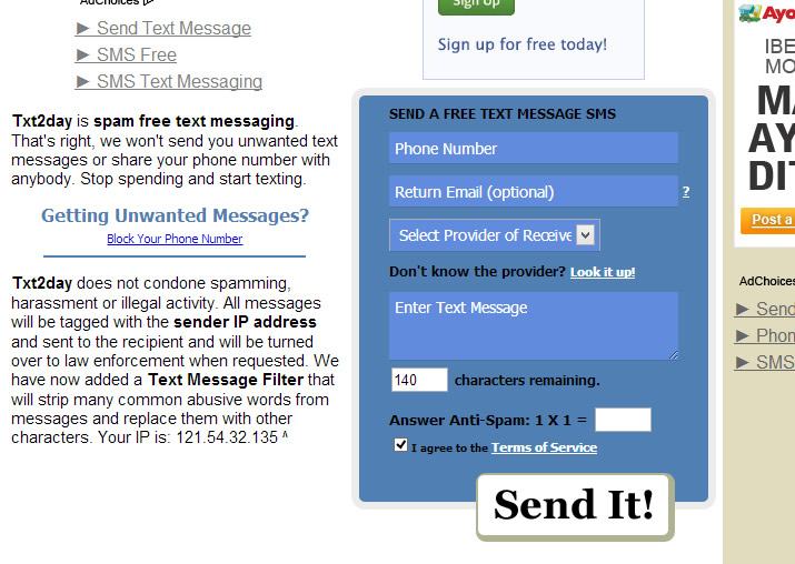 Free SMS Web : Text2Day