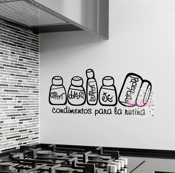 Vinilo decorativo para cocina condimentos para la rutina - Laminas decorativas para cocinas ...
