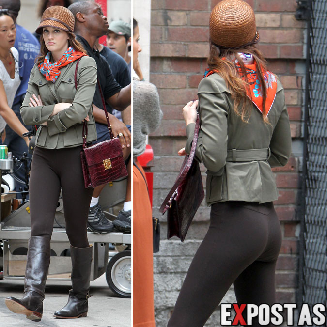 Leighton Meester filmando cenas de 'Gossip Girl' - Upper West Side, em New York - 10 de Agosto de 2012