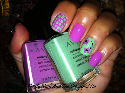 cute doticure pink with flowers