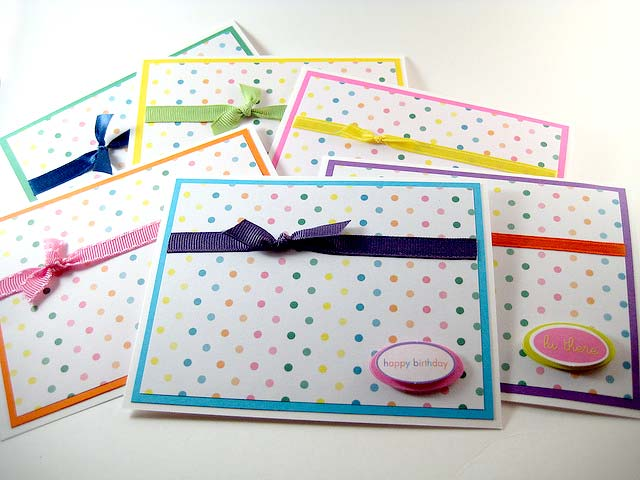 cute cards polka dot