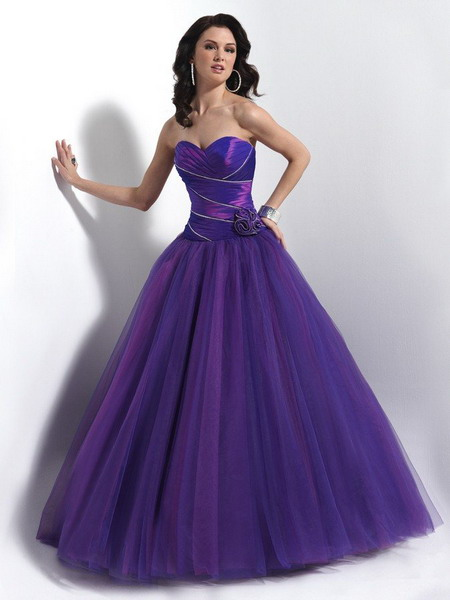 Vivid purple strapless taffeta and tulle ballgown evening dress