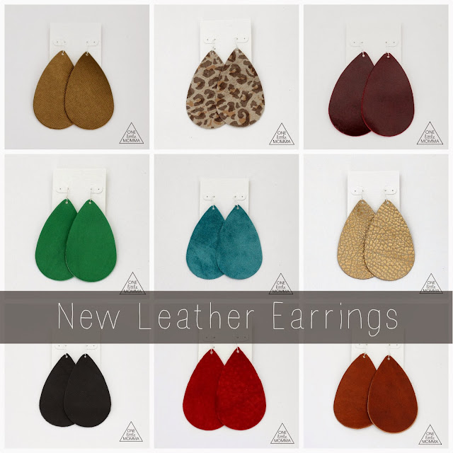 Leather earrings from ONE little MOMMA- the most comfortable and stylish earrings EVER