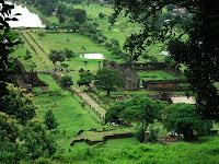 Elevated image of Vat Phu and surrounding land in Champassak, Laos