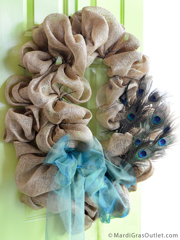 Burlap, Wreath, Deco Mesh, Tutorial, DIY, Twig Works, Natural Decor, Peacock Feather