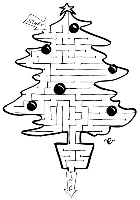 a Christmas tree maze, activity for children